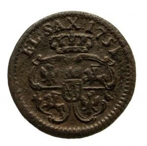 Polska, August III Sas 1733–1763, szeląg 1751, Gubin lub Grünthal