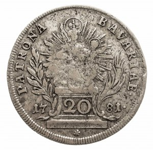 Niemcy, Bawaria, Karl Theodor 1777-1799 20 krajcarów 1781, Monachium.