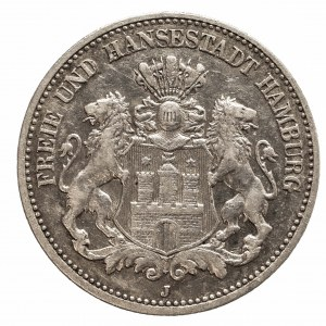 Niemcy, Cesarstwo Niemieckie 1871-1918, Hamburg - miasto, 2 marki 1906 J, Hamburg