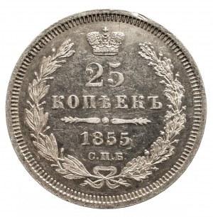 Rosja, Mikołaj I 1825-1855, 25 kopiejek, 1855 СПБ HI, mennica Petersburg