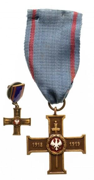 Wielkopolski Krzyż Powstańczy ze wstążką + miniatura + legitymacja