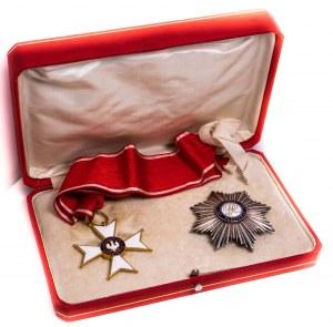Krzyż Polonia Restituta II klasy 1918 z gwiazdą, oryginalną wstęgą i pudłem