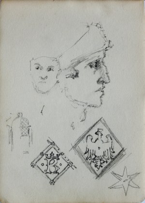 Józef Pieniążek (1888-1953), Szkice głowy w ujęciu en face i w ujęciu z profilu oraz szkic drzwi do katedry na Wawelu wraz z motywami dekoracyjnymi