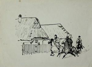 Ludwik Antoni Maciąg (1920-2007), Ułani na koniach przed wiejskimi chatami
