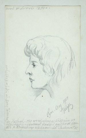 Tadeusz Rybkowski (1848-1926), Szkic głowy kobiety, 1909