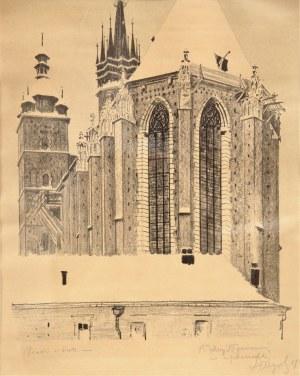 Leon Wyczółkowski (ur. 1852, Huta Miastkowska k. Siedlec - zm. 1936 Warszawa), Widok od wschodu na Kościół Mariacki