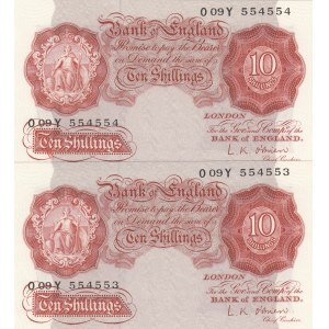 Great Britain, 10 Shillings, 1948, UNC, p368c, (Total 2 concecutuve banknotes)