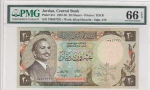 Jordan, 20 Dinars, 1987-88, UNC, p21c