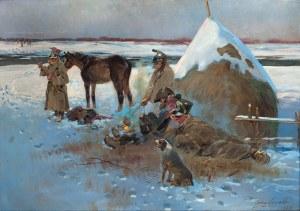 Jerzy Kossak (1886 Kraków - 1955 tamże), Odpoczynek przy ognisku – epizod z wojen napoleońskich, 1938 r.