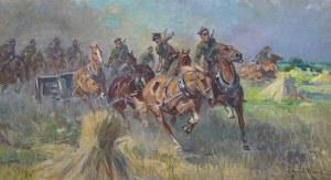Wojciech Kossak (1856 Paryż - 1942 Kraków), Bateria Konna na pozycję