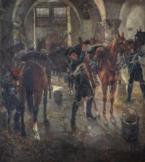Artysta nieokreślony (XIX/XX w.), Husarzy w stajniach