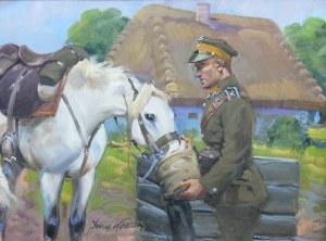 Jerzy Kossak (1886 Kraków - 1955 tamże), Ułan pojący konia