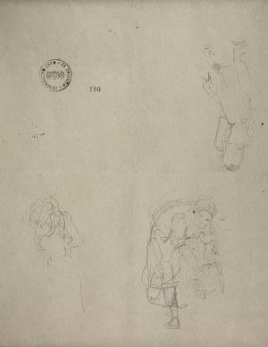 Jacek Malczewski (1854-1929), Szkice postaci kobiety: pochylającej się, niosącej ciężar na ramieniu