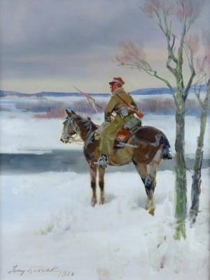 Jerzy Kossak (1886-1955), Ułan odrodzonego Wojska Polskiego na widecie, 1934