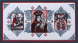 Oleksandr Bryndikov, Ikona Domowa (św. Jerzy, Matka Boska z Dzieciątkiem, św. Mikołaj), 2018