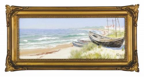 Soter August JAXA-MAŁACHOWSKI (1867-1952), Łodzie na brzegu morza (1935)