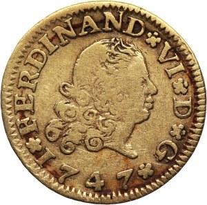 Hiszpania, Ferdynand VI, 1/2 escudo 1747 S-PJ, Sewilla