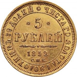 Rosja, Mikołaj I, 5 rubli 1852 СПБ АГ, Petersburg