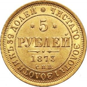 Rosja, Aleksander II, 5 rubli 1873 СПБ НІ, Petersburg