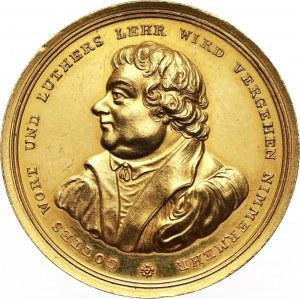 Niemcy, Hamburg, medal w złocie wagi 10 dukatów z 1817 roku, Marcin Luter - 300 lat Reformacji