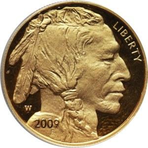 Stany Zjednoczone Ameryki, 50 dolarów 2009 W, West Point, Bizon, stempel lustrzany (Proof)