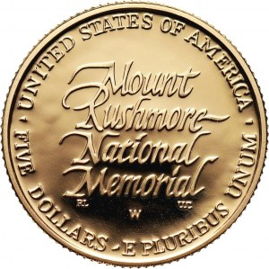 Stany Zjednoczone Ameryki, 5 dolarów 1991 W, Mount Rushmore, stempel lustrzany