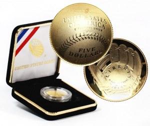 Stany Zjednoczone Ameryki, 5 dolarów 2014 W, Baseball, stempel lustrzany