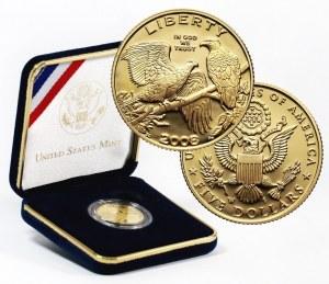 Stany Zjednoczone Ameryki, 5 dolarów 2008 W, Bielik amerykański, stempel lustrzany