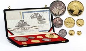 Haiti, 1969-1971 rok, zestaw 8 monet w srebrze i złocie, stempel lustrzany