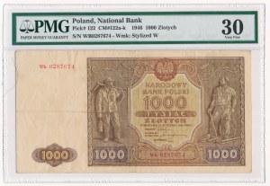 1.000 złotych 1946 - Wb z kropką - PMG 30 - rzadka seria zastępcza