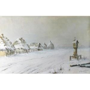 Józef GURANOWSKI (1852-1922), Zimowa zadymka [Przydrożna kapliczka], 1918