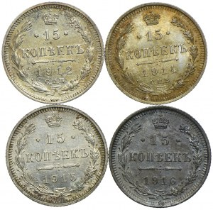 Rosja, zestaw 15 kopiejek 1912-1916 (4szt.)