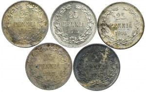 Finlandia, zestaw 25 pennia 1913-1917 (5szt.)