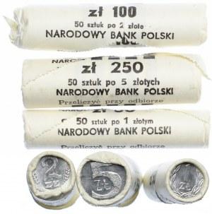 Rulony bankowe, 1, 2, 5 złotych (3szt.)