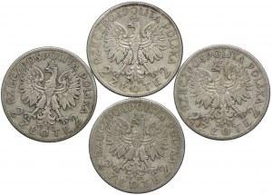 2 złote 1933-1934, Głowa Kobiety, (4szt.)