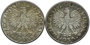 2 złote 1936 Żaglowiec (2szt.)
