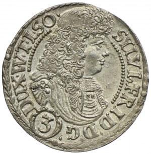 Śląsk, Księstwo Oleśnickie, Sylwiusz Fryderyk, 3 krajcary 1676 SP, Oleśnica