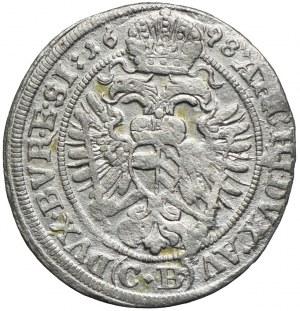 Śląsk, Śląsk pod panowaniem habsburskim, Leopold I, 3 krajcary 1698 CB, Brzeg