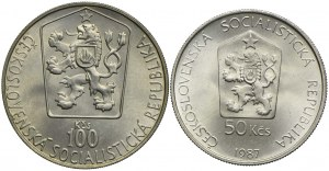 Czechosłowacja, zestaw 50 koron 1987 Koń Przewalskiego, 100 koron 1985 Hokej (2szt.)