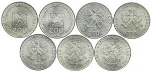 200 złotych 1974-76, XXX lat PRL, Olimpiada, Żołnierze (7szt.)