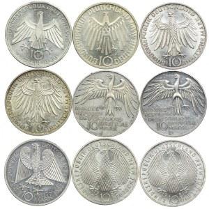 Niemcy, zestaw 10 marek 1972-1987 (9szt.)