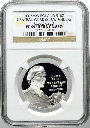 10 złotych 2002, gen. Władysław Anders, NGC PF69