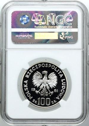 100 złotych 1981, Konie, PRÓBA, NGC PF69