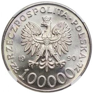 100.000 złotych 1990, Solidarność, NGC MS67