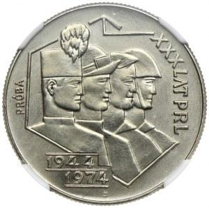 20 złotych 1974, XXX lat PRL, PRÓBA NIKIEL, NGC MS63