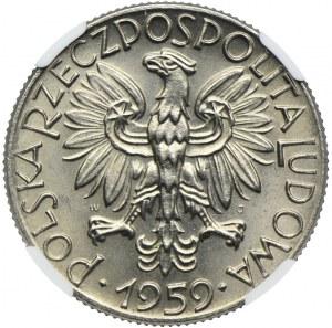 5 złotych 1959, Symbole Gospodarki Narodowej, PRÓBA NIKIEL, NGC MS66