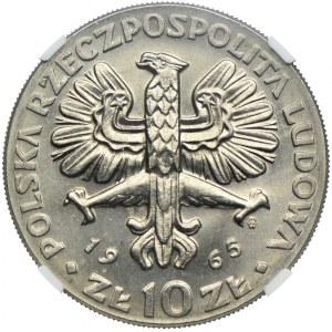 10 złotych 1965, NIKE, VII Wieków Warszawy, PRÓBA NIKIEL, MS65