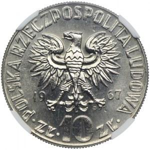10 złotych 1967, Mikołaj Kopernik, PRÓBA NIKIEL, NGC MS66