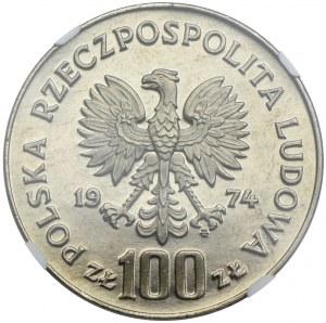 100 złotych 1974, Zamek Królewski w Warszawie, PRÓBA NIKIEL, NGC MS65