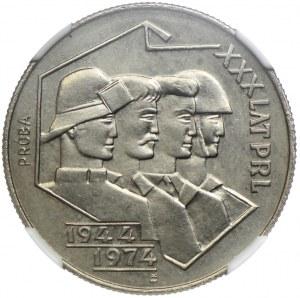 20 złotych 1974, XXX lat PRL, PRÓBA NIKIEL, NGC MS64